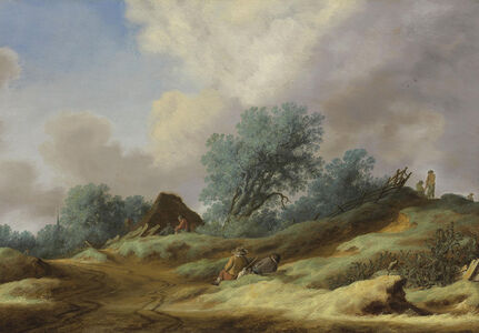 A landscape with peasants on a dune