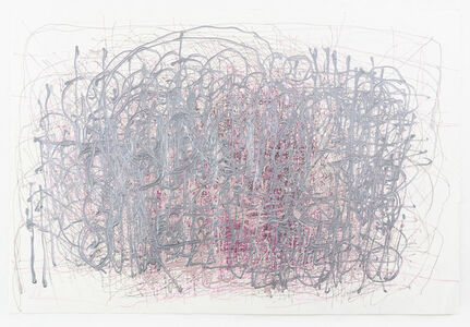 Untitled (Pink and purple on white paper)