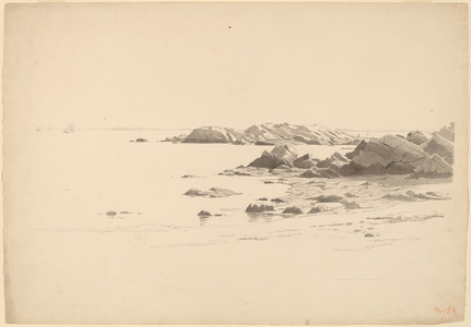 Rocklined Beach with Distant Boats