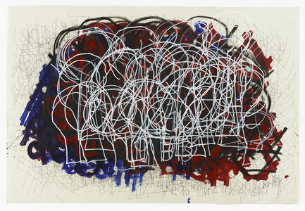 Untitled (White light bulbs over red and blue)