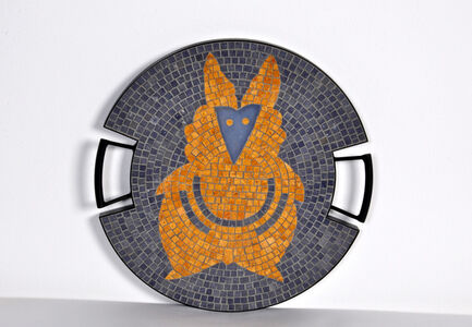 """The Fox tray in hand-set mosaic, from the """"Strange Animals Collection"""" by Ugo La Pietra,  Spilimbergo, Italy, 2016."""