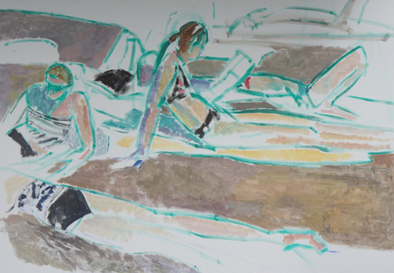 Bathers with Green Lines