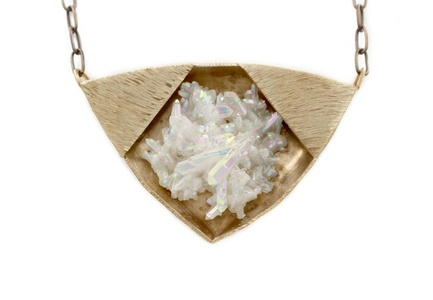 Aura Crystal in Bronze Necklace