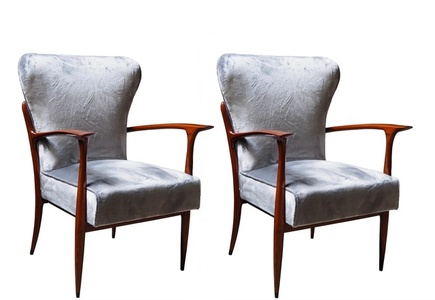 Pair of armchairs, structure in cherry wood, seat and backrest are upholstered with grey velvet fabric.