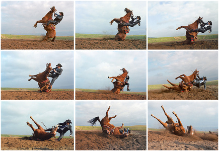 Stunt Cowboy Falling off Horse, Ventura County, California, February 20 (9 Images)