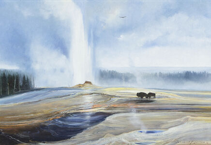 Untitled - Two Bison near Spouting Geyser