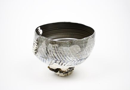 Black and White Perched Bowl w/Three Loops