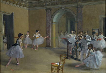 Le foyer de la danse à l'Opéra de la rue Le Peletier (Ballet studio at the Opera in rue Le Peletier)