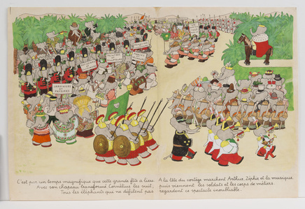 """The weather is perfect for the day of the celebration,"" published illustration for Babar the King"