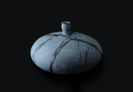 Blue Bizen vessel with white clay patterns
