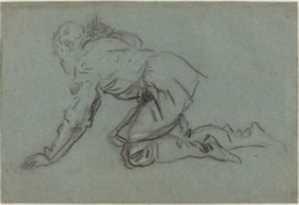 A Crouching Man Holding a Staff [recto]