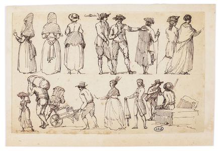 """""""Contadina"""". Etudes de personnages sur un marché romain"""