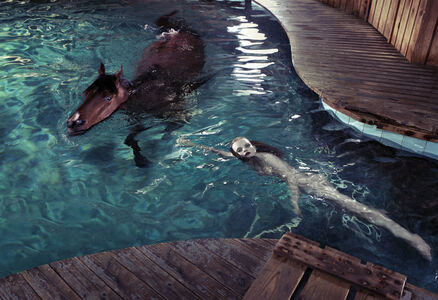 Girl with Horse in Pool