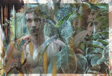 Michel in Monet's Greenhouse Giverny (on distressed Japanese garden toile)