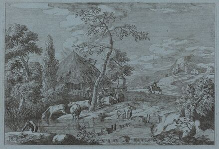 Cattle and Figures at a Farmyard Stream