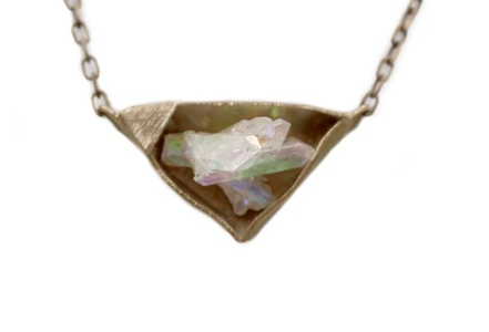 Small Aura Crystal in Bronze Necklace