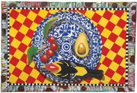 Blue Plate Series: Still life western tanager, cherries, avocado