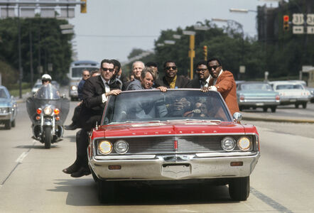 Bobby Kennedy campaigns in IN during May of 1968, with various aides and friends: former prizefighter Tony Zale and (right of Kennedy) N.F.L. stars Lamar Lundy, Rosey Grier, and Deacon Jones