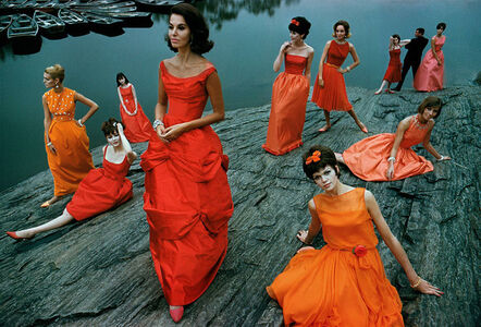 Glamour, Models in Dresses in Central Park