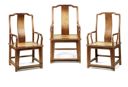 "Set of three ""southern official's"" armchairs"