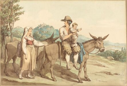 A Peasant Family with Their Donkey