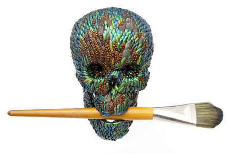 Skull with brush (artificial hair)