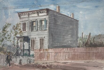 Untitled (man walking in front of house)
