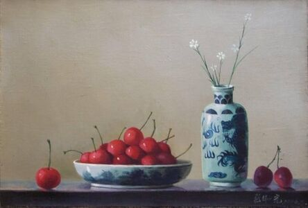 Cherries with pottery