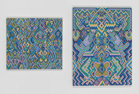 Grid Painting 3 (Twelve Colors Arranged on a Hand-Drawn Grid)