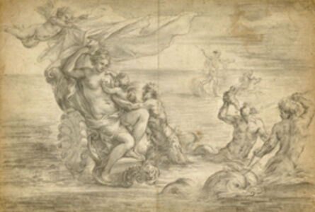 Venus Seated in Her Sea Chariot Suckling Cupid