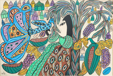 Woman and peacock