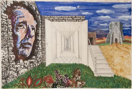 """Sin Título (Ilustración original del libro """"La Moneda de Hierro"""", de Jorge Luis Borges, 1976, buenos Aires, Ed. Empecé)"""
