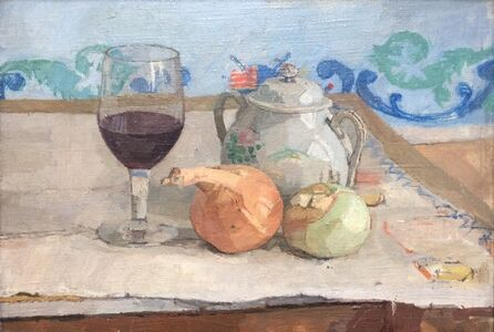 Still Life with Onions and Wine Glass