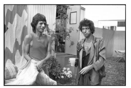 Mick Jagger & Keith Richards Backstage minutes before going on Stage to perform the first show of the tour September 25, 1981, RFK Stadium  Philadelphia, PA
