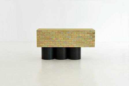 A piece of furniture made of brick