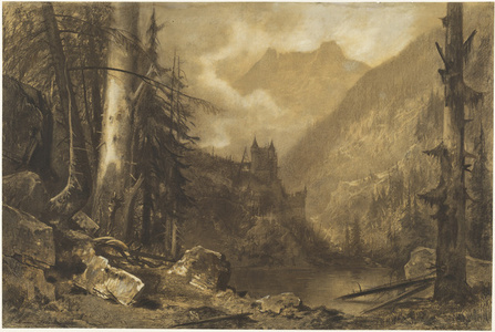 Alpine Castle above a Wooded Lake