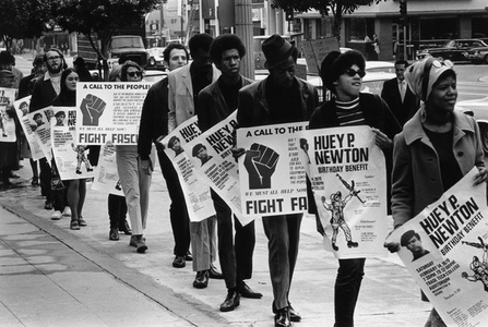 Untitled (Black Panther/Huey Newton protest, downtown Los Angeles)