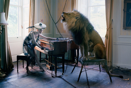 Karen Elson at piano with singing Lion, Shotover House, Oxfordshire