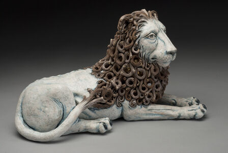 Reclined Lion with Internal Woman