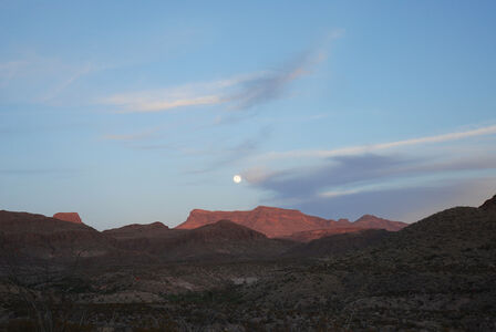 West Texas: Full moon over the Chisos Mountain, Big Bend National Park