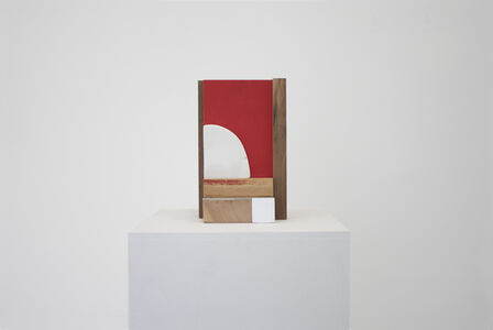 Untitled (red and white plaster tablet)