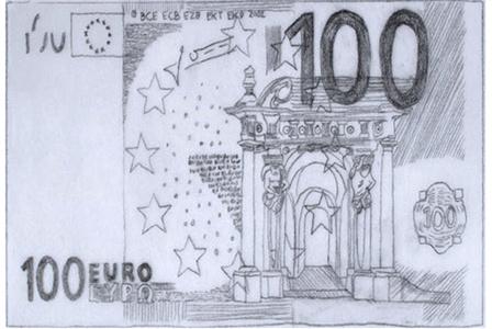 Cambio dibujos de billetes de euros por pesetas. Tasa de cambio 1:1