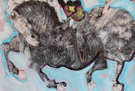 Horse Rider on Light Blue