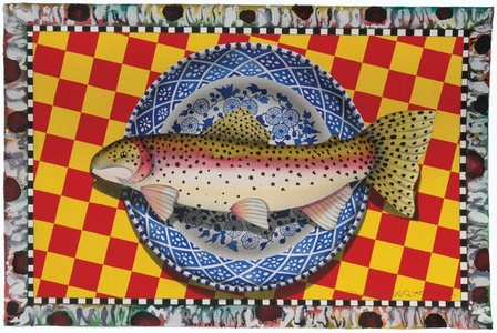 Blue Plate Series: Still life rainbow trout