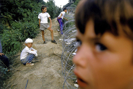 Survivors from Srebrenica arrive to safety at a United Nations camp.