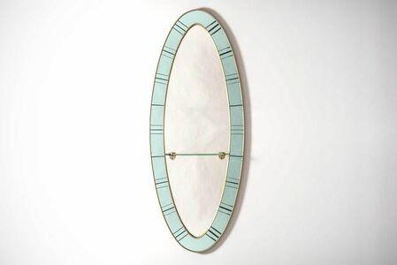 Oval mirror with glass shelf