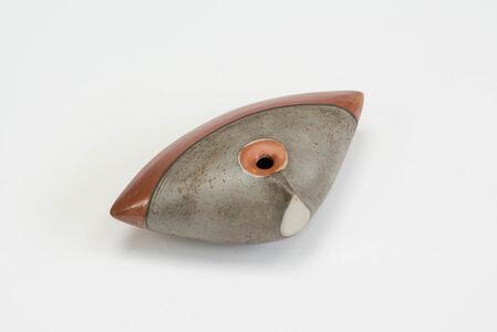 Clam (cast iron, metallic, orange and blue)