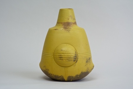 Sculptural Vase with Lines (yellow; thrown and assembled)
