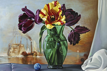 Tulips with Ships at Sea