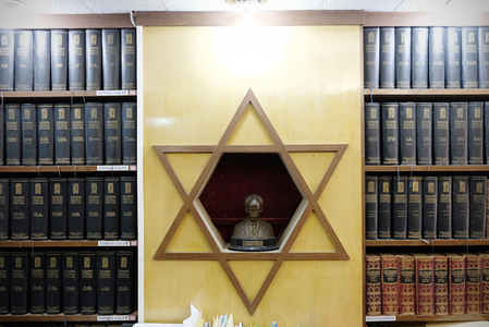 A statue of the late Jose Marti inside the main office of the Beth Shalom Synagogue